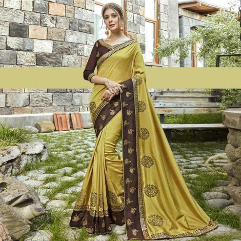 Mesmerising Light Lemon Green Colored Partywear Embroidered Silk Saree