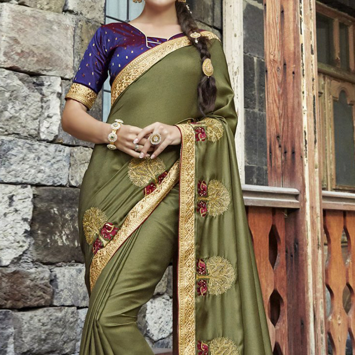 Blooming Olive Green Colored Partywear Embroidered Silk Saree