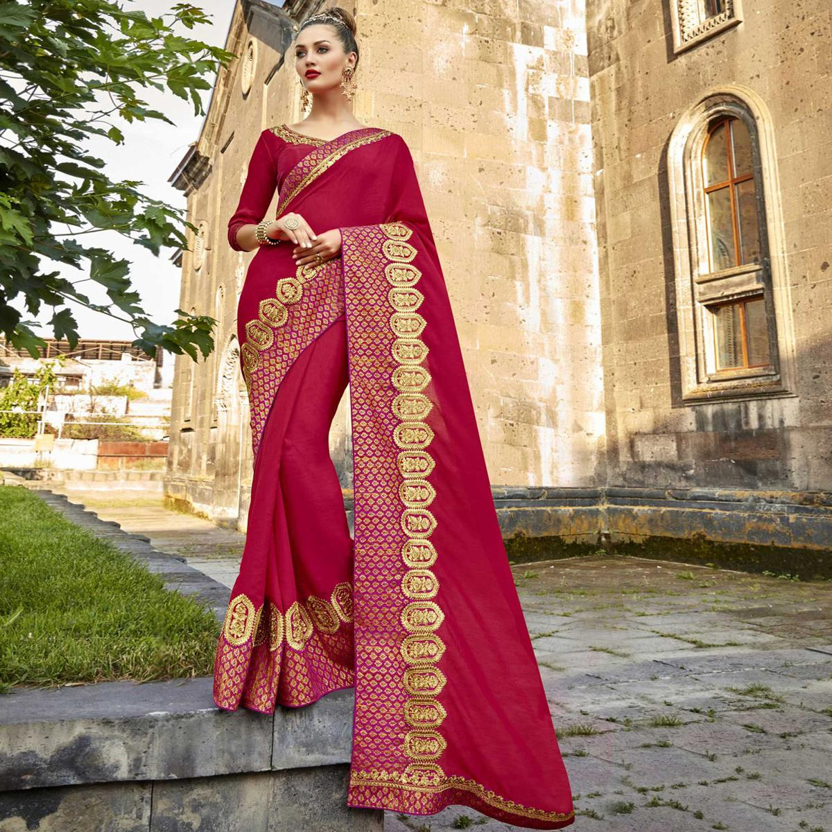 Ideal Deep Pink Colored Partywear Embroidered Silk Saree