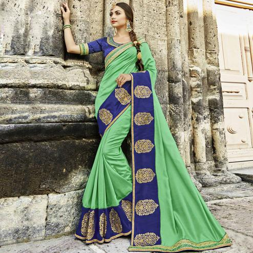 Blissful Green Colored Partywear Embroidered Silk Saree