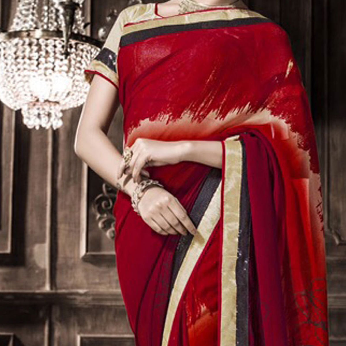 Red Caual Wear Georgette Saree