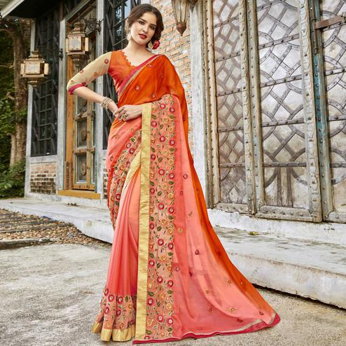 Energetic Orange-Peach Colored Partywear Embroidered Pure Georgette Saree