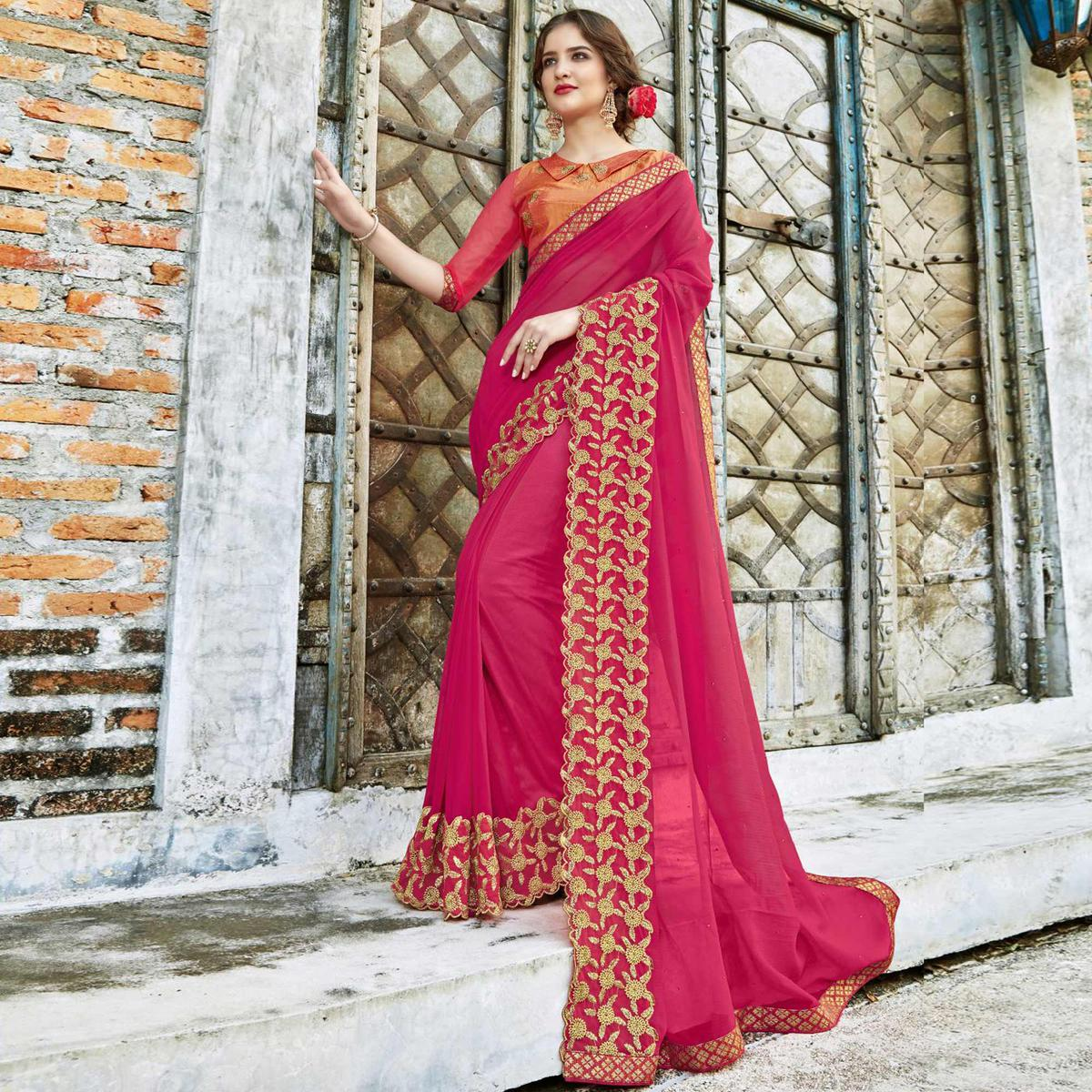 Mesmeric Pink Colored Partywear Embroidered Pure Georgette Saree