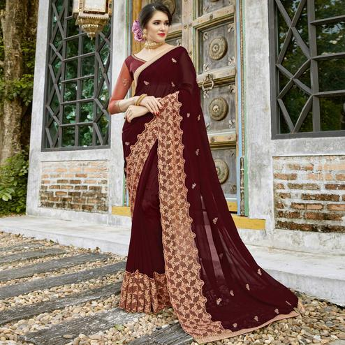 Blooming Maroon Colored Partywear Embroidered Pure Georgette Saree
