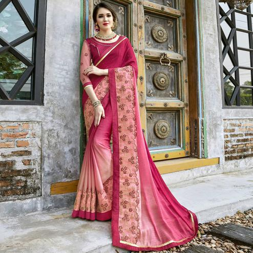 Marvellous Pink Colored Partywear Embroidered Pure Georgette Saree