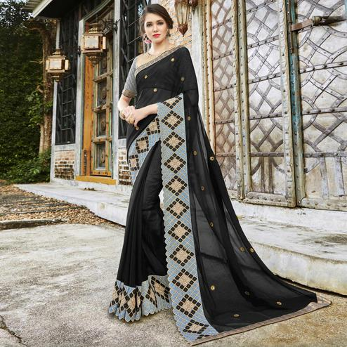 Mesmerising Black Colored Partywear Embroidered Pure Georgette Saree