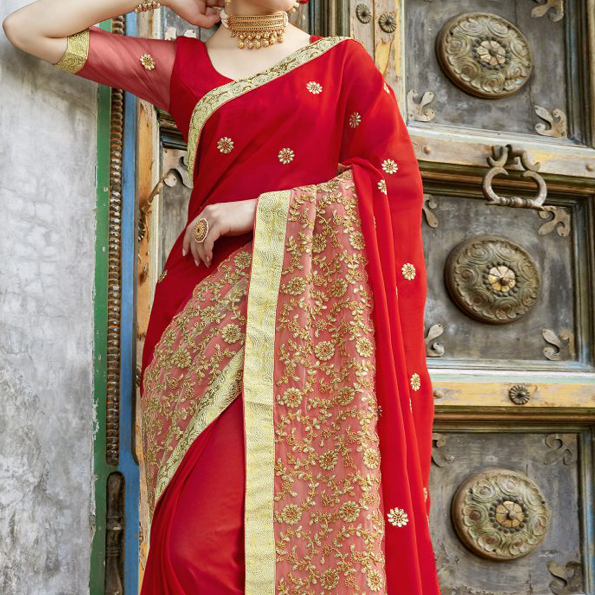 Ravishing Red Colored Partywear Embroidered Pure Georgette Saree