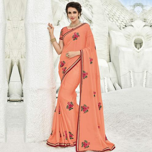Jazzy Peach Colored Partywear Embroidered Chiffon Saree