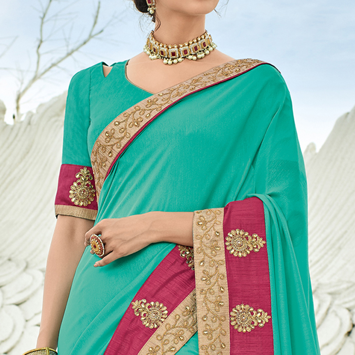 Prominent Aqua Blue Colored Partywear Embroidered Silk Saree