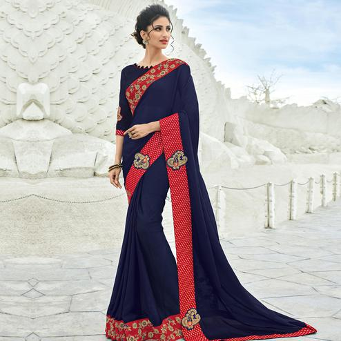 Capricious Navy Blue Colored Partywear Embroidered Chiffon Saree