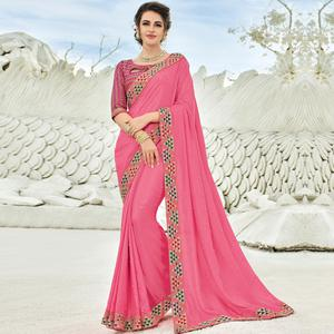 Adorning Pink Colored Partywear Embroidered Silk Saree