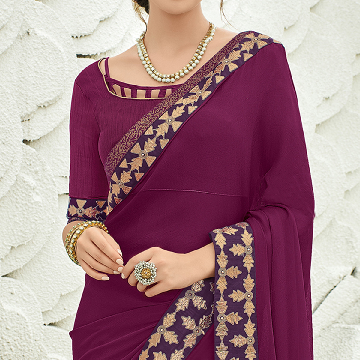 Refreshing Violet Colored Partywear Embroidered Chiffon Saree