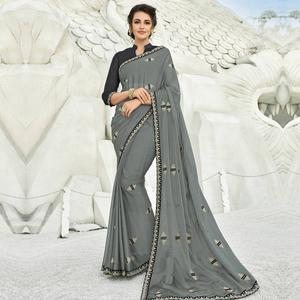 Graceful Gray Colored Partywear Embroidered Chiffon Saree