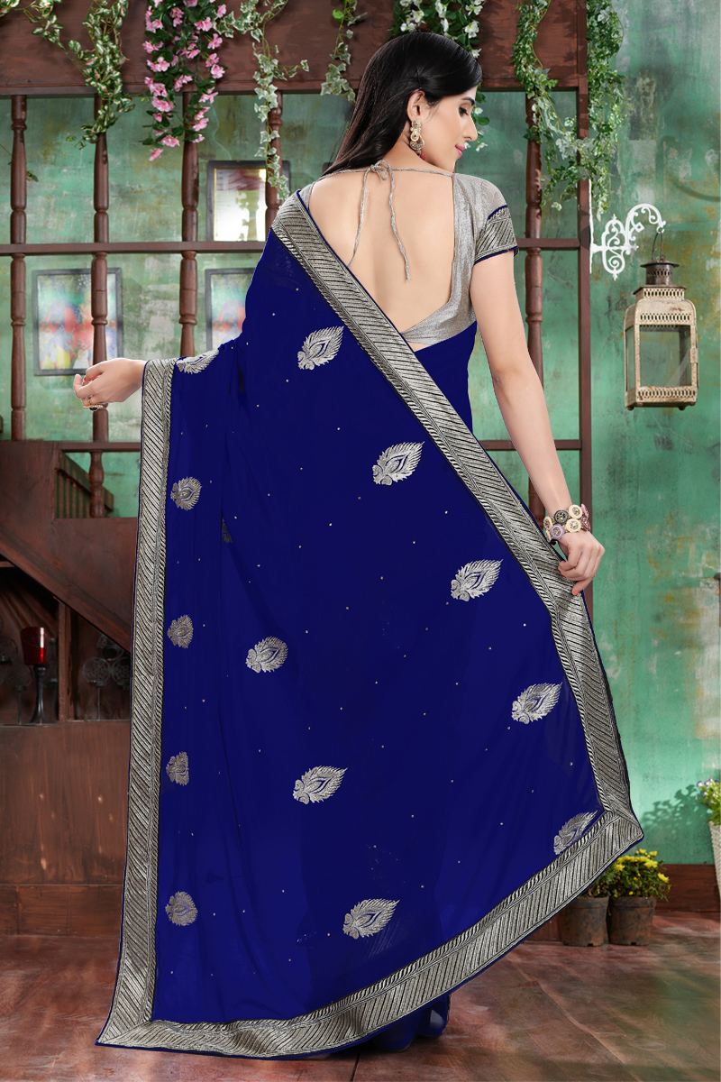 Blue Georgette Patch Work Saree
