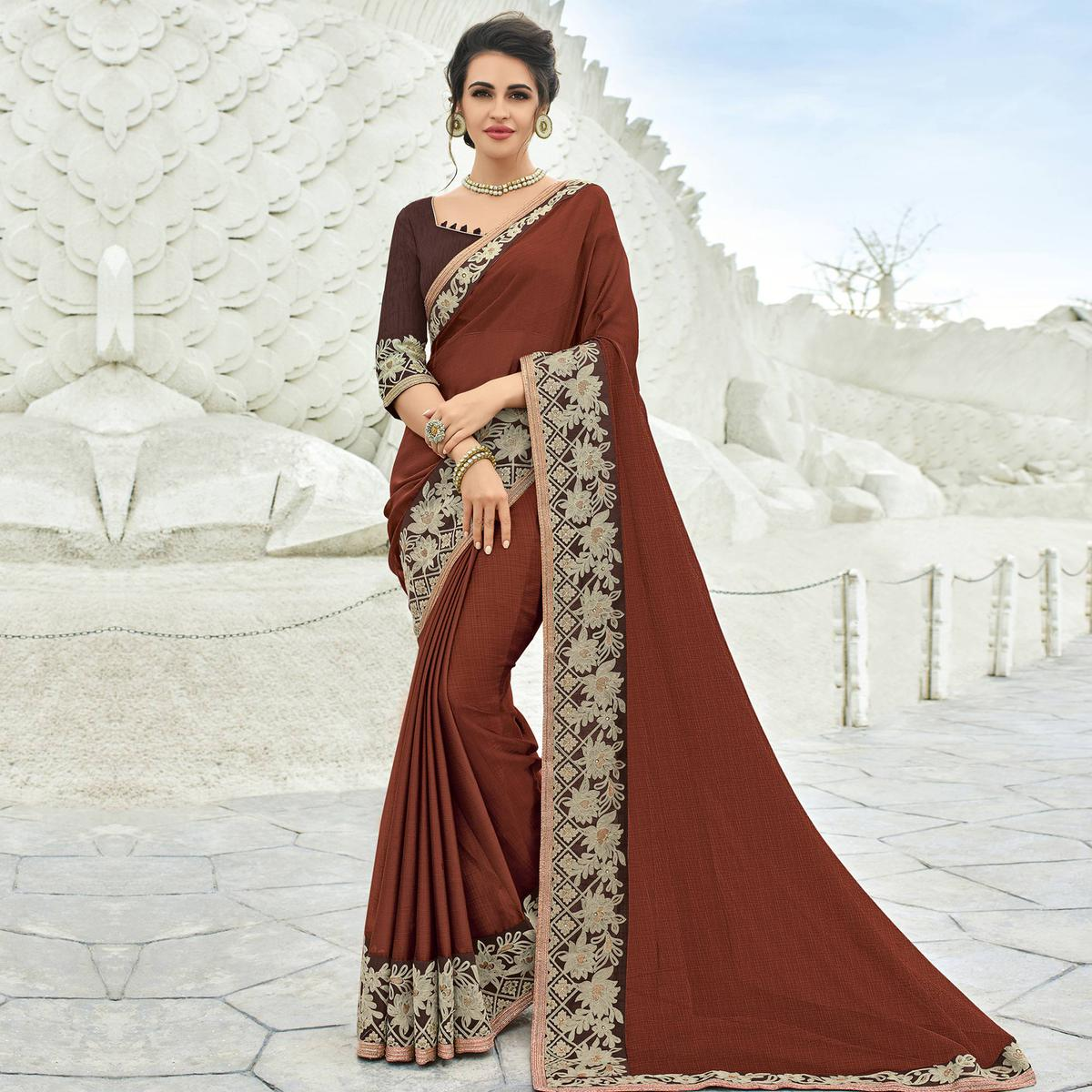 Classy Brown Colored Partywear Embroidered Chiffon Saree