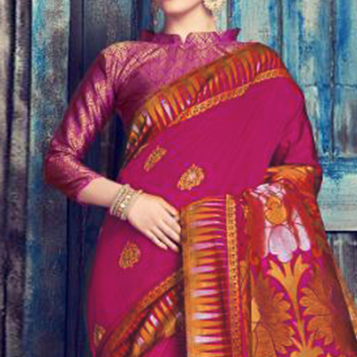 Elegant Magenta Pink Colored Festive Wear Woven Cotton Silk Saree