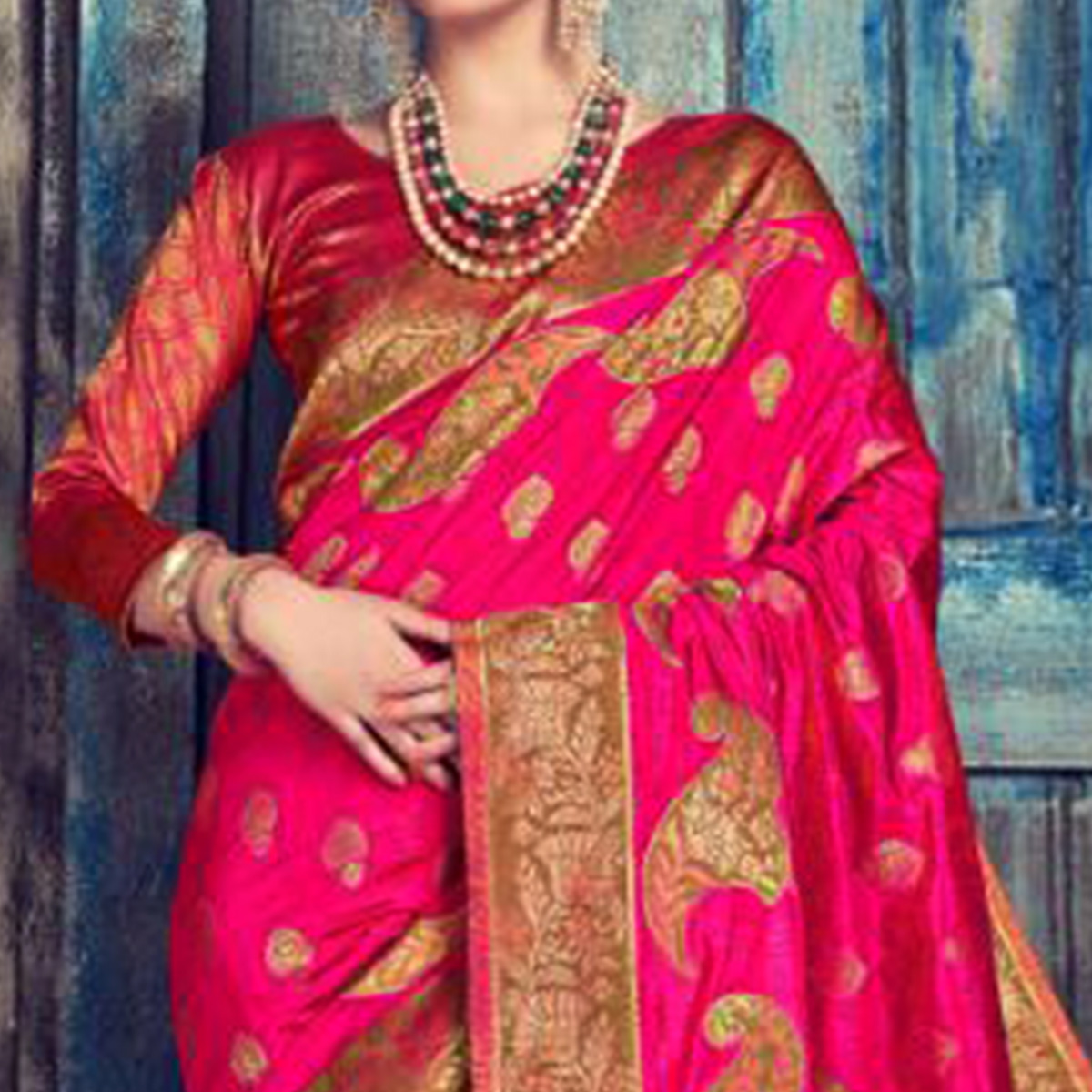 Gorgeous Pink Colored Festive Wear Woven Cotton Silk Saree