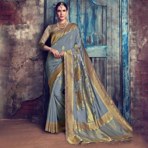 Trendy Gray Colored Festive Wear Woven Cotton Silk Saree