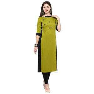Adorable Green Colored Partywear Heavy Rayon Fancy Kurti