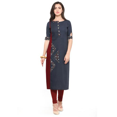 Attractive Dark Gray Colored Partywear Heavy Rayon Fancy Kurti