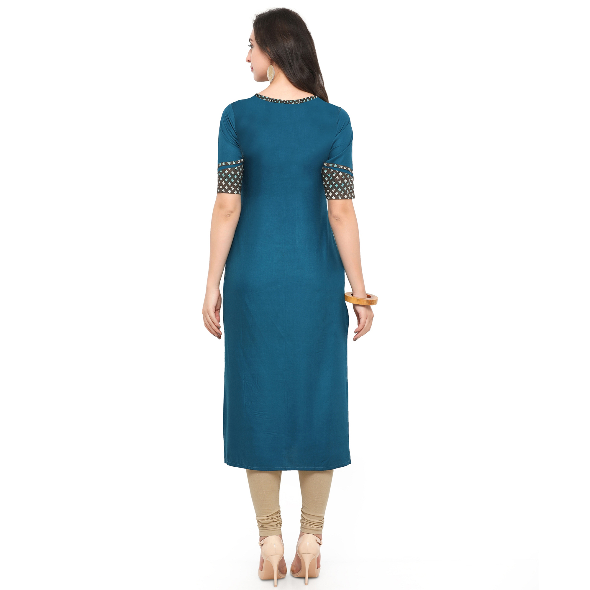 Beautiful Blue Colored Partywear Heavy Rayon Fancy Kurti