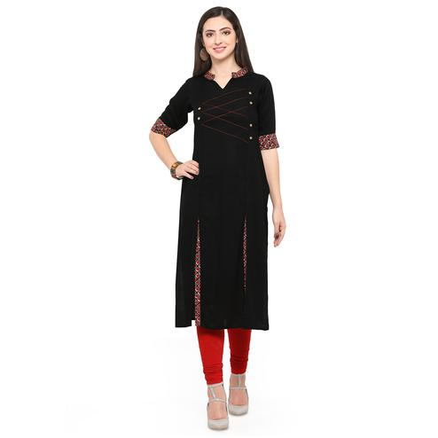 Sophisticated Black Colored Partywear Heavy Rayon Fancy Kurti