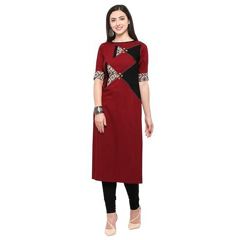 Demanding Maroon Colored Partywear Heavy Rayon Fancy Kurti