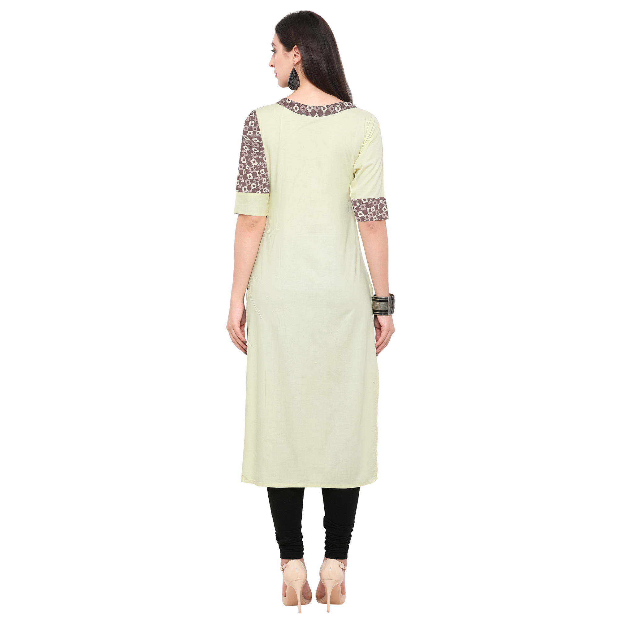 Pleasant Cream Colored Partywear Heavy Rayon Fancy Kurti