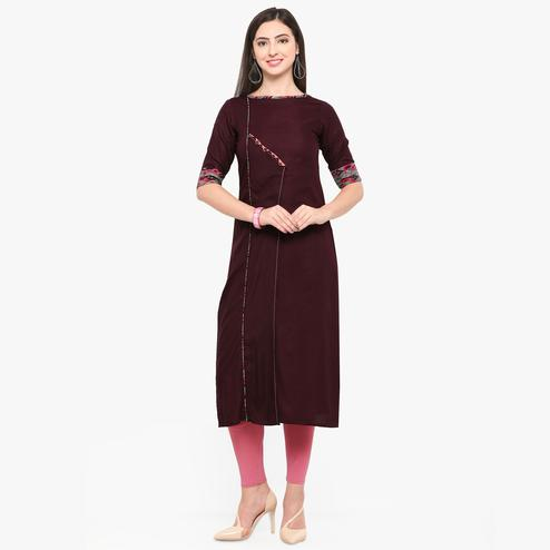 Unique Brown Colored Partywear Heavy Rayon Fancy Kurti