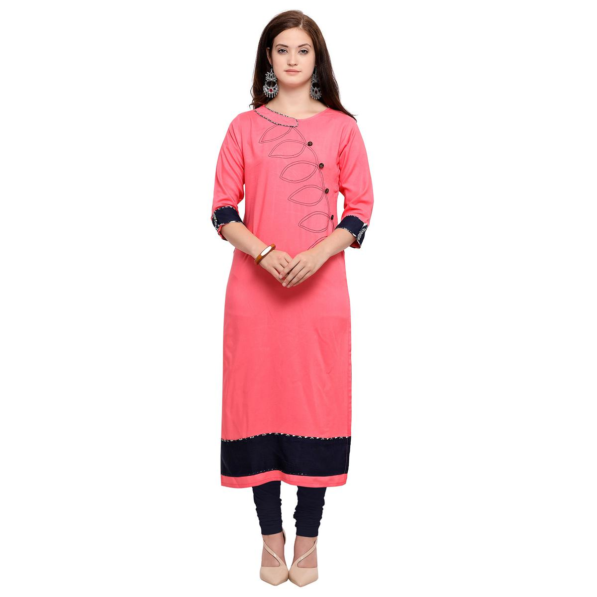 Refreshing Pink Colored Partywear Heavy Rayon Fancy Kurti