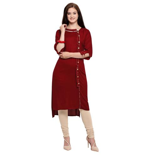 Elegant Maroon Colored Partywear Heavy Rayon Fancy Kurti