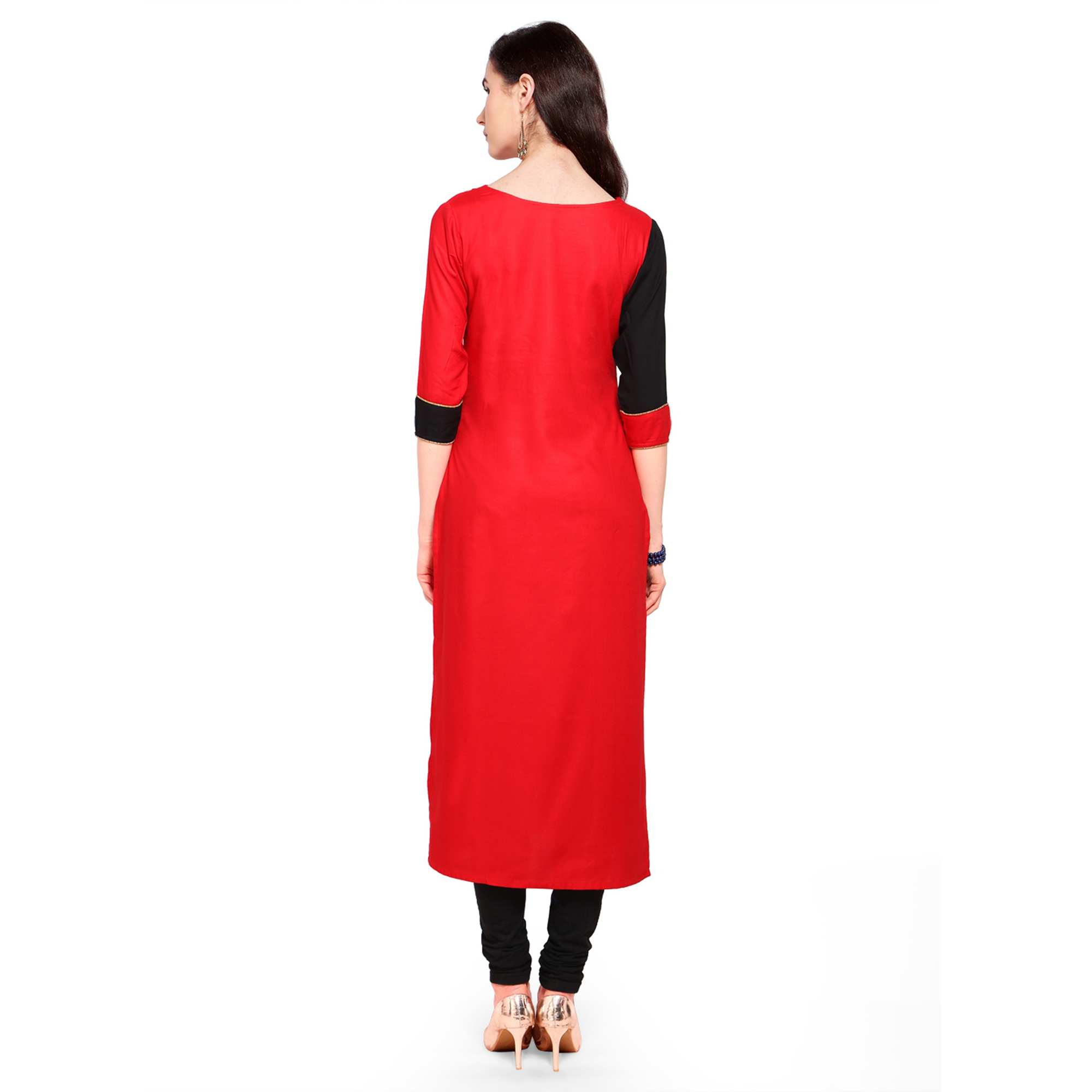 Alluring Red-Black Colored Partywear Heavy Rayon Fancy Kurti