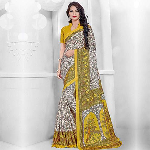 Off White - Yellow Casual Wear Manipuri Silk Saree
