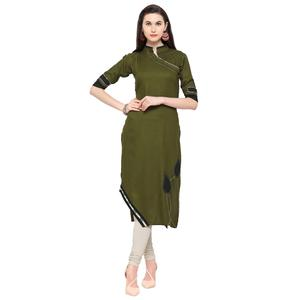 Radiant Olive Green Colored Partywear Heavy Rayon Fancy Kurti