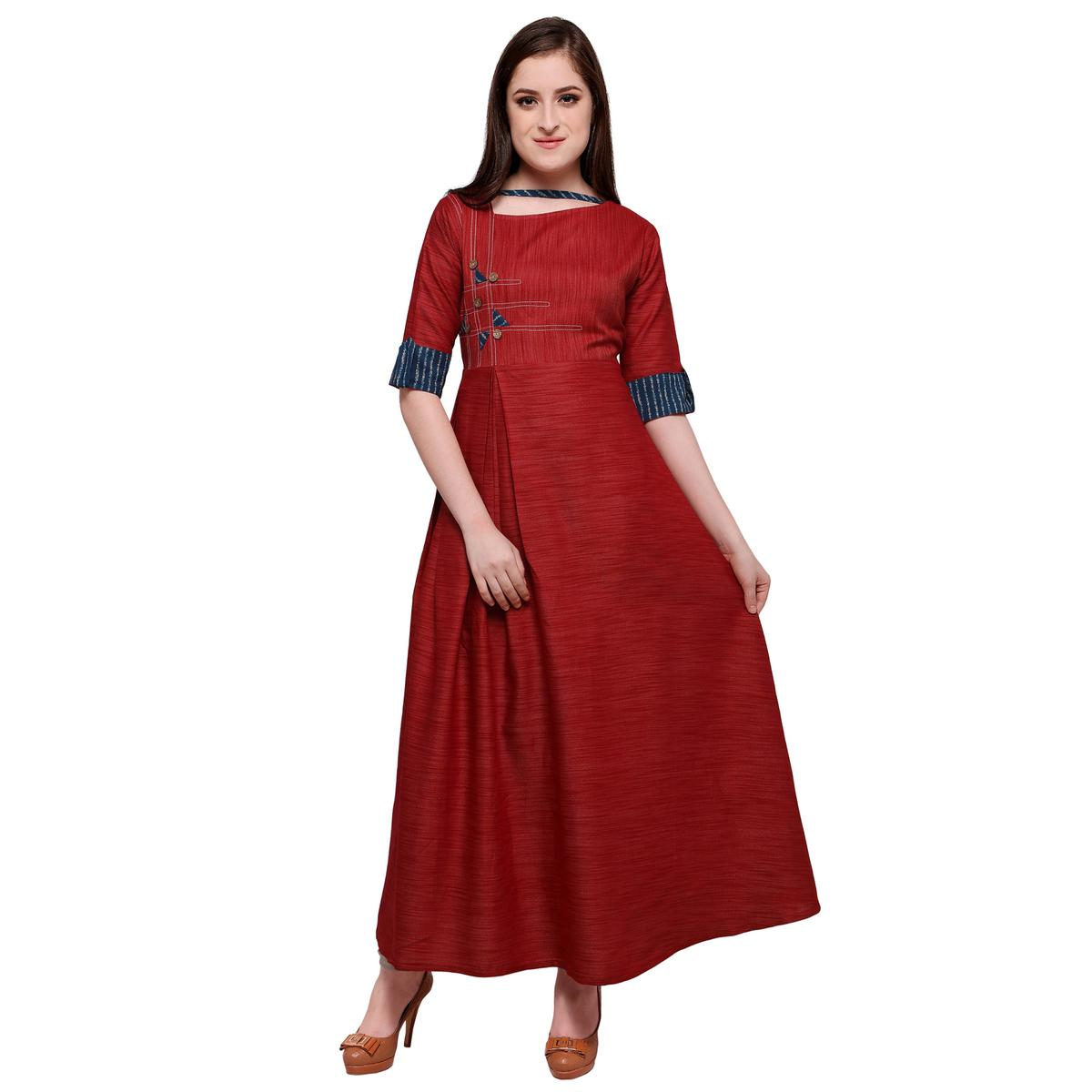 Sensational Red Colored Partywear Heavy Rayon Fancy Kurti