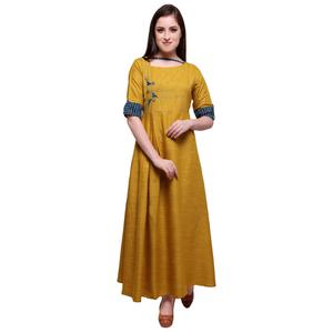 Blooming Mustard Yellow Colored Partywear Heavy Rayon Fancy Kurti