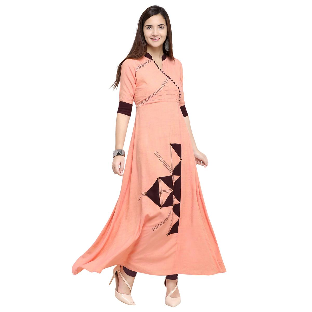 Marvellous Peach Colored Partywear Heavy Rayon Fancy Kurti