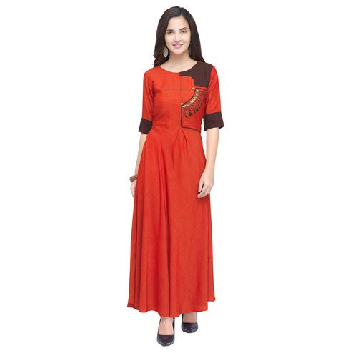 Mesmerising Orange Colored Partywear Heavy Rayon Fancy Kurti