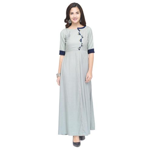 Ravishing Light Gray Colored Partywear Heavy Rayon Fancy Kurti