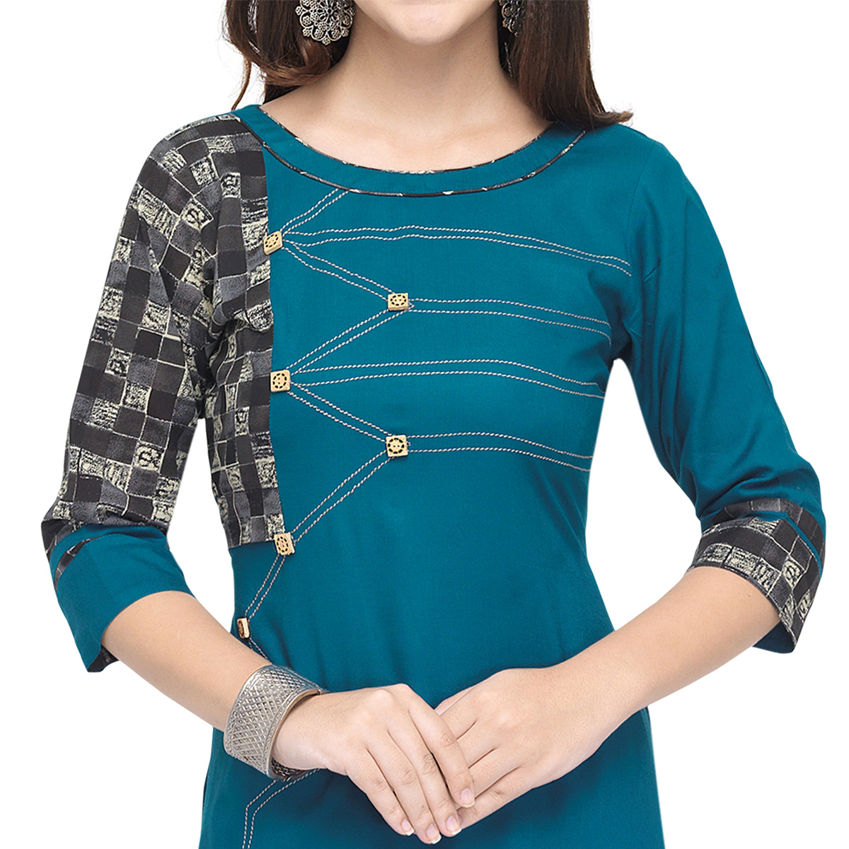 Amazing Blue Colored Partywear Heavy Rayon Fancy Kurti