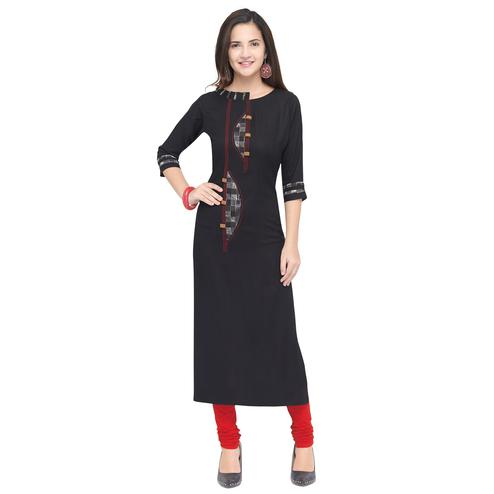 Exotic Black Colored Partywear Heavy Rayon Fancy Kurti