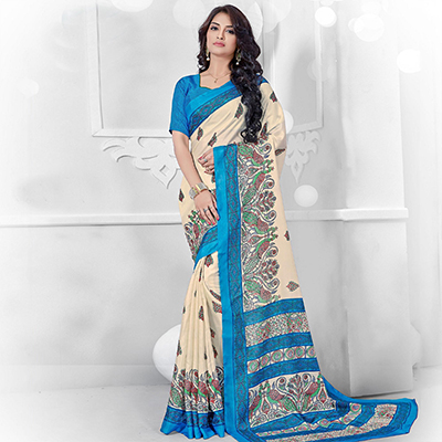 Off White - Blue Manipuri Silk Printed Saree