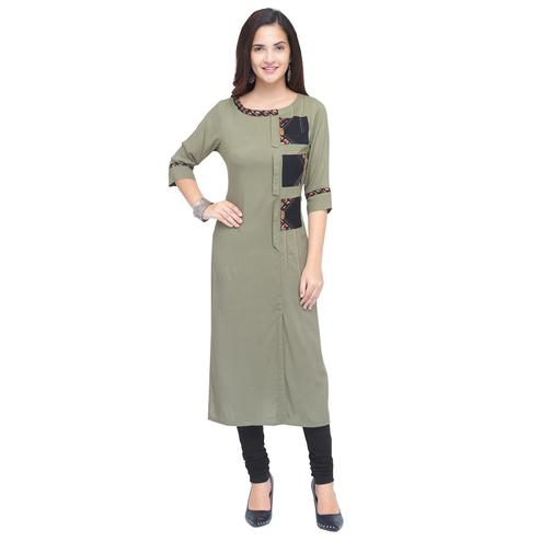 Preferable Gray Colored Partywear Heavy Rayon Fancy Kurti