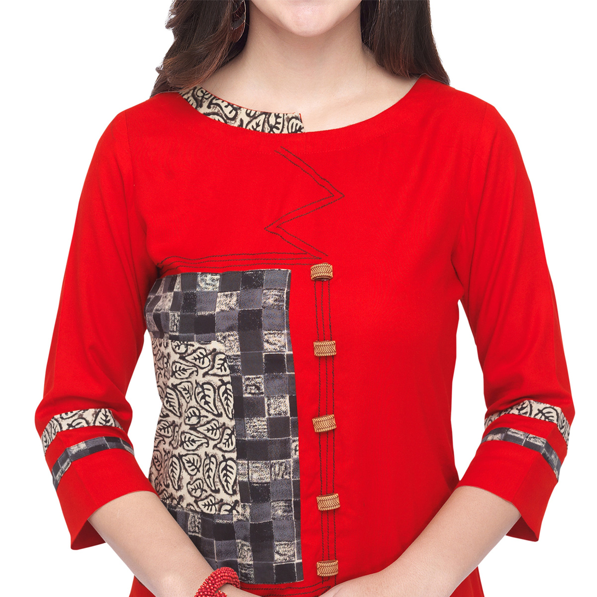 Surpassing Red Colored Partywear Heavy Rayon Fancy Kurti