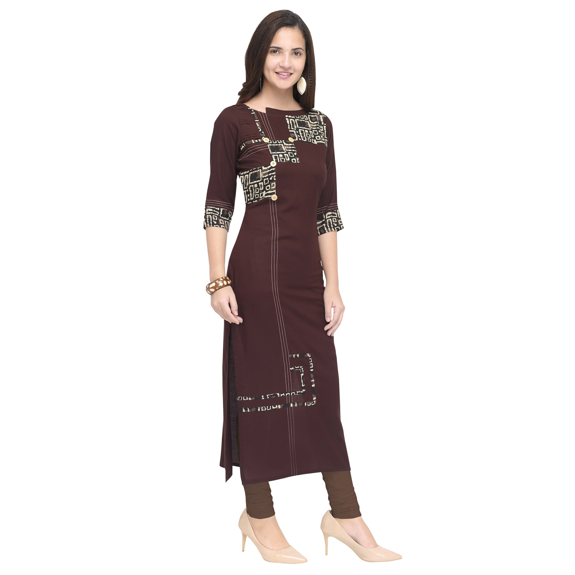 Entrancing Brown Colored Partywear Heavy Rayon Fancy Kurti