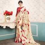 Appealing Cream Colored Partywear Printed Silk Saree