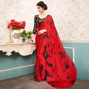 Blooming Red Colored Partywear Printed Silk Saree