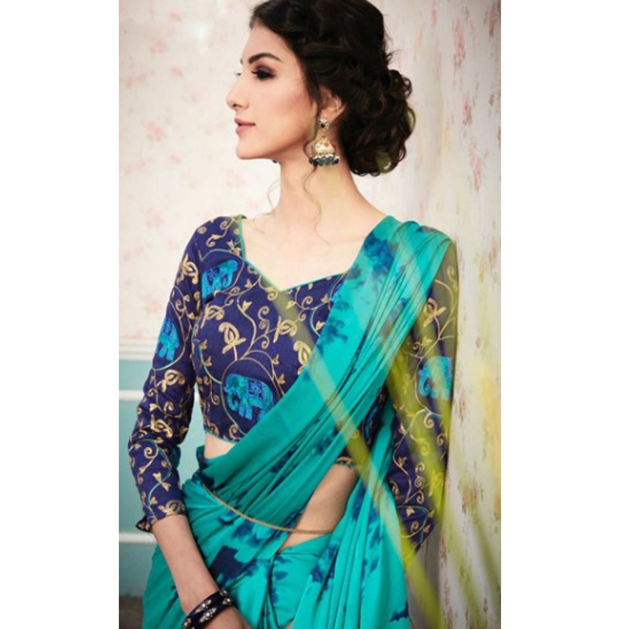 Refreshing Turquoise Green Colored Partywear Printed Silk Saree