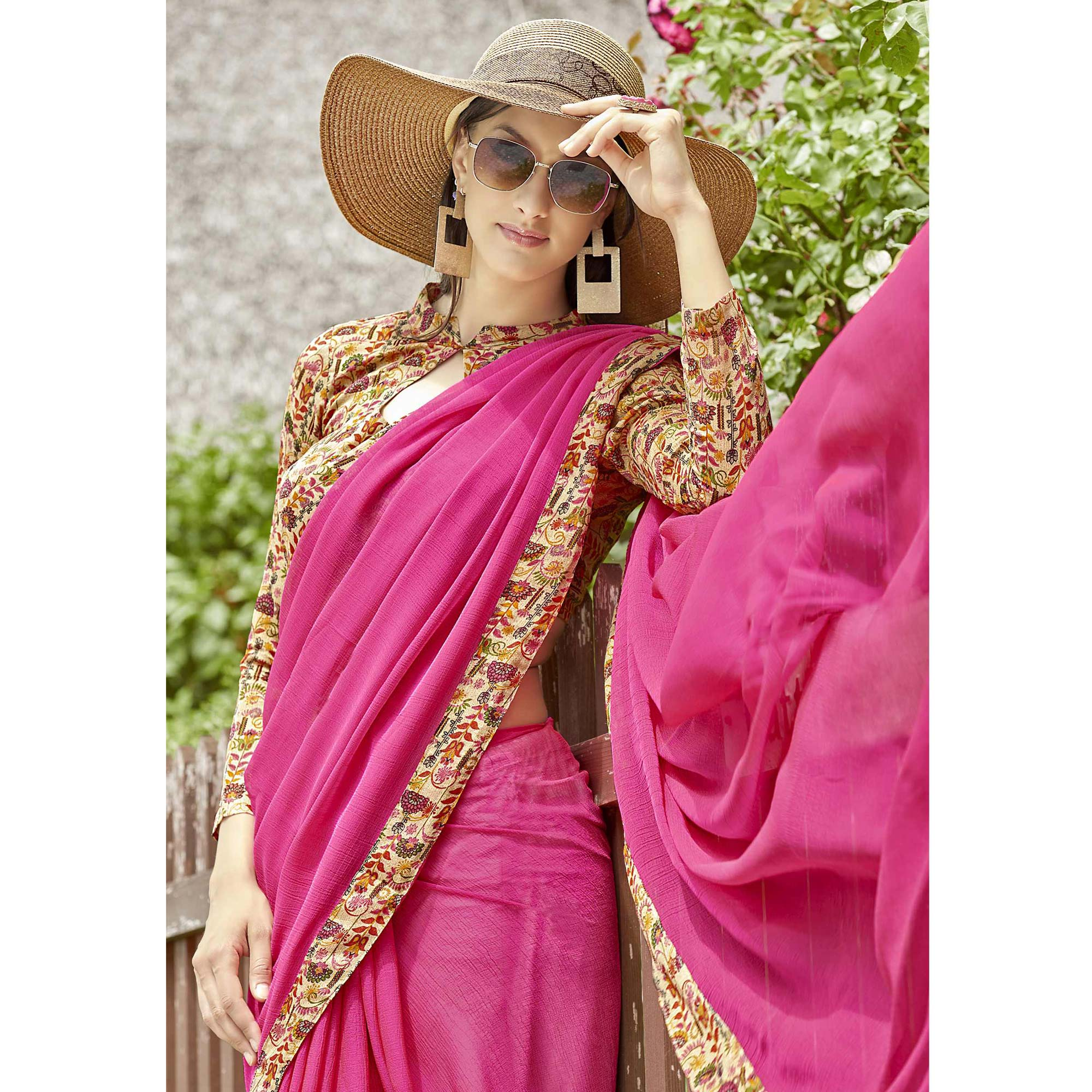 Jazzy Pink Colored Casual Printed Chiffon Saree