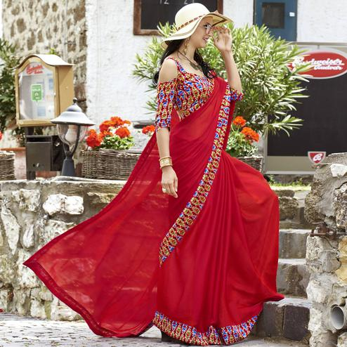 Appealing Red Colored Casual Printed Chiffon Saree